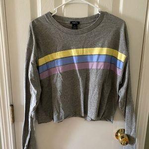 Long Sleeve Gray Striped Crop Top